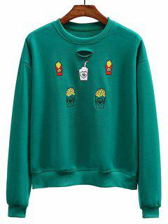 Embroidered Distressed Crew Neck Sweatshirt - Green