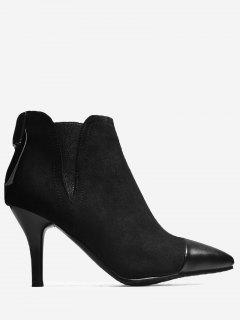 Pointed Toe Bow Elastic Band Boots - Black 38