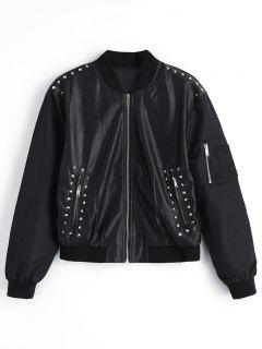 Embroidered Rivet Faux Leather Jacket - Black L