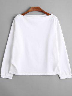 Long Sleeve Drop Shoulder T-shirt - White L