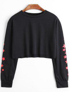 Stars Print Crop Sweatshirt - Black S