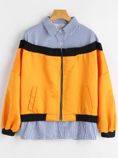 Striped Shirt Patchwork Zip Up Jakcet - Orange S