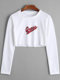 Letter Print Long Sleeve Crop T-shirt - White M