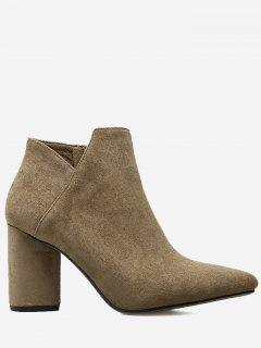 Pointed Toe Mid Heel Boots - Brown 36