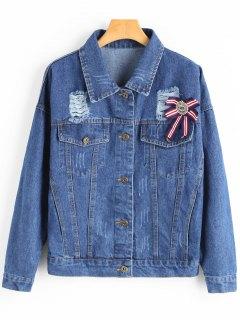 Brooch Embellished Ripped Denim Jacket - Deep Blue S