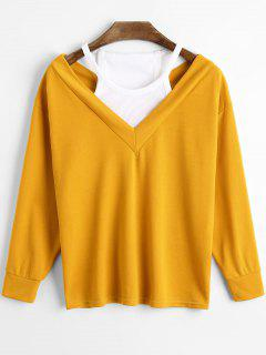 Cold Shoulder Panel Long Sleeve T-shirt - Mandarin M