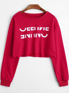 Letters Print Crop Sweatshirt - Red 2xl