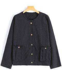 Einfache Jacke Mit Druckknopf Und Taschen  - Schwarz
