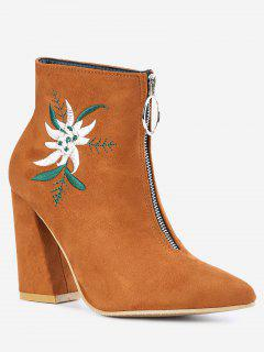 Embroidery Pointed Toe Chunky Heel Boots - Brown 38