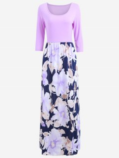 U Neck Floral Print Maxi Dress - Light Purple S