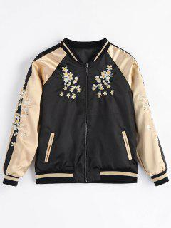 Pockets Embroidered Souvenir Zipper Jacket - Black S