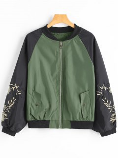 Floral Patched Raglan Sleeve Bomber Jacket - Army Green M