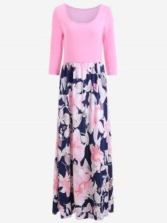 Robe Maxi à Imprimé Floral - Rose PÂle S