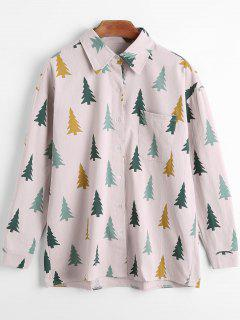 Tree Print Front Pocket Long Sleeve Shirt - Pale Pinkish Grey