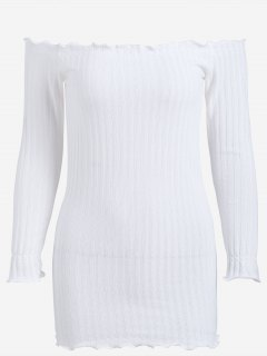 Off Shoulder Mini Knitted Bodycon Dress - White M