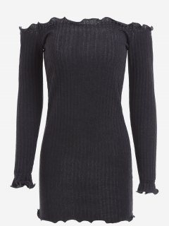 Off Shoulder Mini Knitted Bodycon Dress - Black Xl