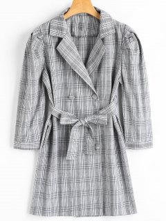Lapel Belted Checked Coat With Pockets - Checked