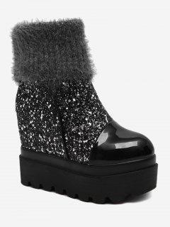 Fold Over Glitter Platform Mid Calf Boots - Silver 34