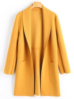 Shawl Collar Open Front Coat With Pockets - Mustard M