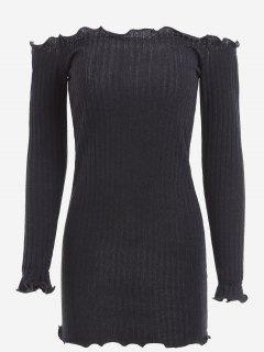 Mini Robe Ajustée à Épaules Dénudées Volantées - Noir S