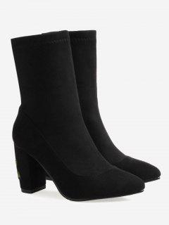 Chunky Heel Flower Embroidery Boots - Black 38