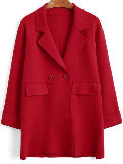 Curled Sleeve Knitting Button Up Coat - Red