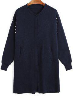 Metallic Balls Knitting Snap Button Coat - Purplish Blue