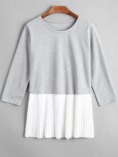 Pleated Chiffon Panel Three Quarter Sleeve T-shirt - Light Gray S