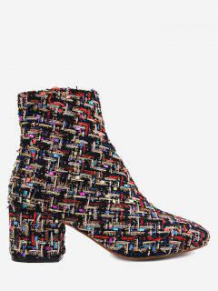 Chunky Heel Mix Pattern Ankle Boots - Black 35
