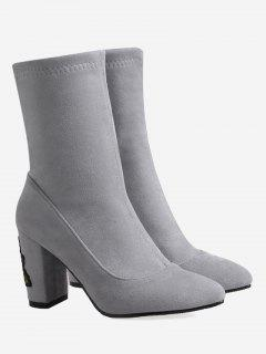Chunky Heel Flower Embroidery Boots - Gray 36
