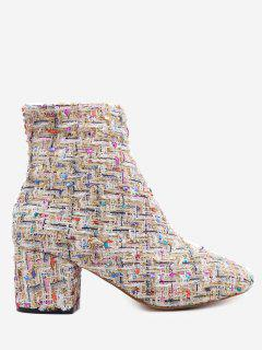 Chunky Heel Mix Pattern Ankle Boots - Apricot 36
