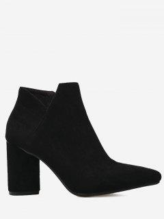 Pointed Toe Mid Heel Boots - Black 35