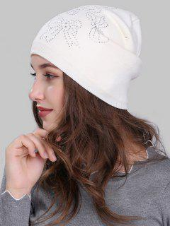 Butterfly Shape Small Rhinestone Embellished Knit Beanie - White
