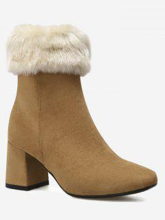 Chunky Heel Fold Over Mid Calf Boots - Brown 36