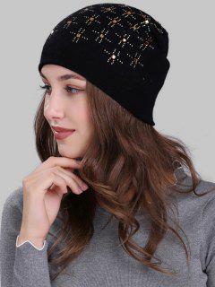 Cross Rhinestone Embellished Crochet Knitted Beanie - Black