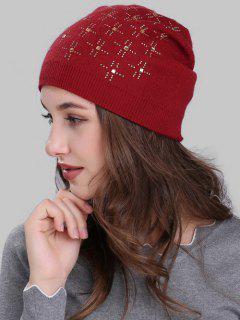 Cross Rhinestone Embellished Crochet Knitted Beanie - Burgundy