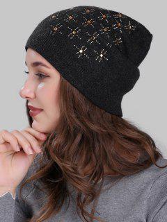 Cross Rhinestone Embellished Crochet Knitted Beanie - Dark Gray