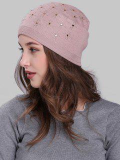Cross Rhinestone Embellished Crochet Knitted Beanie - Pink