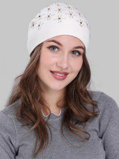 Cross Rhinestone Embellished Crochet Knitted Beanie - White