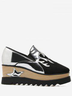 Color Block Patchwork Star Platform Shoes - Black 39