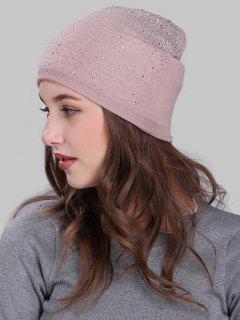 Rhinestone Embellished Knitted Slouchy Beanie - Pink