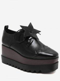 Line Pentagram Platform Shoes - Black 35