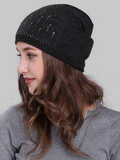 Rhinestone Embellished Crochet Knitted Beanie - Deep Gray