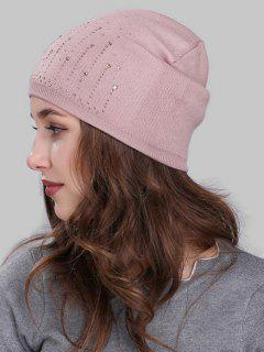 Rhinestone Embellished Crochet Knitted Beanie - Pink