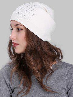 Rhinestone Embellished Crochet Knitted Beanie - White