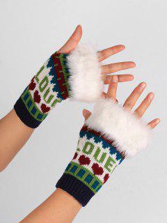 Letter And Heart Embellished Fingerless Knitted Gloves - Blue Green