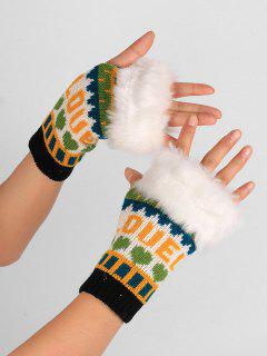 Letter And Heart Embellished Fingerless Knitted Gloves - Black White