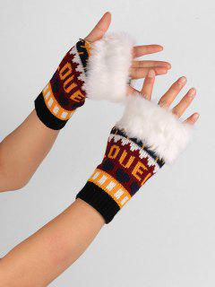 Letter And Heart Embellished Fingerless Knitted Gloves - Black Red