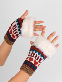 Letter And Heart Embellished Fingerless Knitted Gloves - Khaki