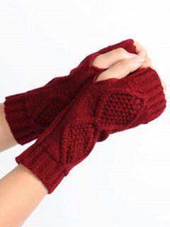 Rhombus Stripe Crochet Knitted Fingerless Gloves - Wine Red